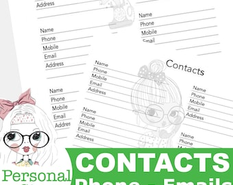 Printed Planner Contact Inserts, Personal Planner Inserts, Contacts, Emails, Phone Numbers, Binder Inserts, Printed Planner Paper Insert