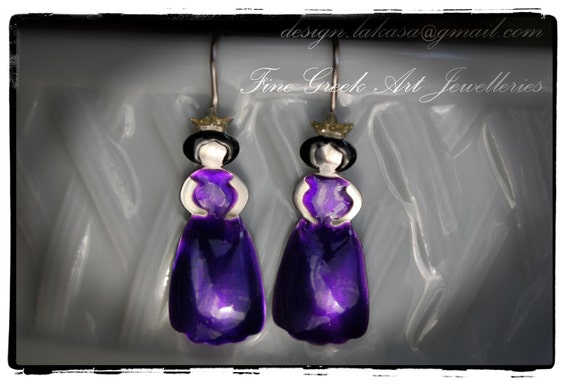 Purple Enamel Princess Earrings Sterling Silver 925 white Gold-plated Handmade Jewelry Fine Greek Art Quality Best Ideas Gifts for her Woman
