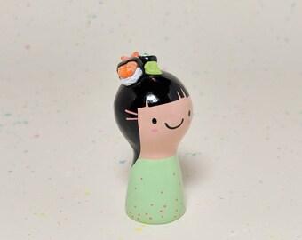 Sushi Girl Figurine - Collectible Miniature Clay Figure