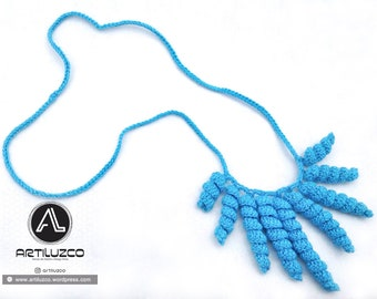 Turquoise Rulino, Crochet necklace, Necklace in natural fibers, Handmade knitted necklace