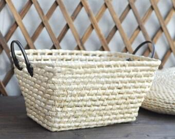 Newborn Natural Photography Photo Prop Straw Storage Basket with Handles  43*32*21cms