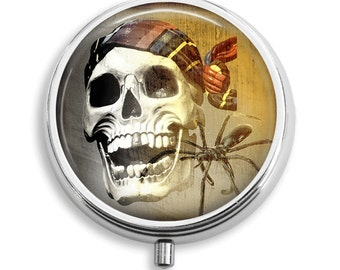 Pill Box Pill Case Laughing Pirate Skull and Spider Pill Holder Pill Container Trinket Box PillBox Vitamin Holder Medicine Box Mint Tin