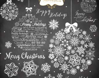 Christmas Clipart Chalkboard INSTANT DOWNLOAD Digital Art Graphics