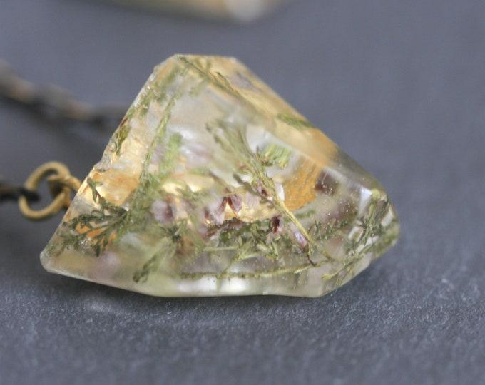 Resin Gem Necklace | Brass and Resin | Irish Plant Necklace | Botanical Jewellery  | Jewelry | Geometric Jewellery