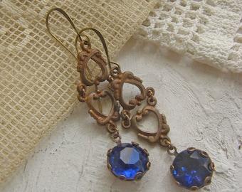 Art nouveau Earrings, Blue Earrings, Boho Jewelry, Vintage Earrings, Gift for Her, Dangle Earrings, Capri Blue