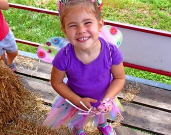 Child Fairy Wings Rainbow Fairy Wings Costume Wings Rainbow Head Crown and Rainbow Tutu Options