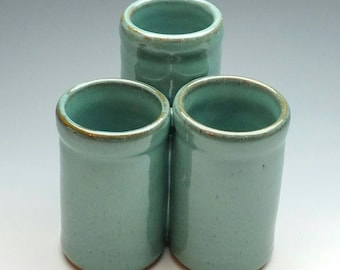 Flatware Caddy (FREE Pottery GIFT with Order) Handmade Ceramic Organizer (turquoise, white or green)