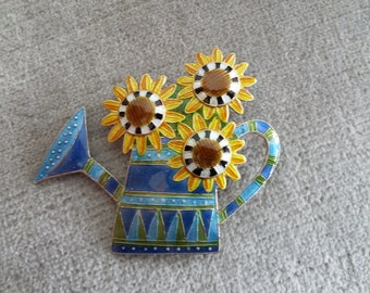 Vintage Zarah Enameled Silver Brooch.  French Sunflowers in a Colorful Watering Can