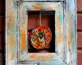 Hanging Flower,  Assemblage, Junk Art, Found Object, Old Frame, Tin Flower, Recycled Art,  Winjimir, Scrap Art, Tin, Vintage, Jello Mold,