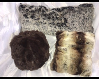 Plush Pillows faux fur multiple sizes and shapes, round pillows, bolster pillows no inserts needed