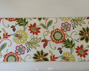 "Floral Window Valance - 36"" x 20"" - READY TO SHIP Kitchen - Bedroom - Bath -  White Lining - Richloom Fabric - Red-Yellow - Multi Color"