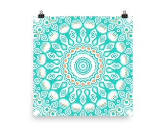 Wall Art in Turquoise, Blue and White Mandala Art Prints, Abstract Turquoise Home Decor Accents