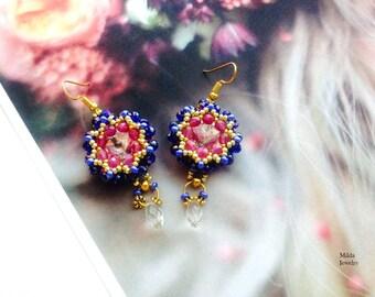 Rivoli beaded earrings for her, chandelier dangle drop earrings, handmade czech bleu, purple, gold glass bead embroidered earrings