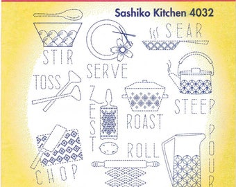 Sashiko Kitchen Aunt Martha's Embroidery Transfer Designs Pattern #4033