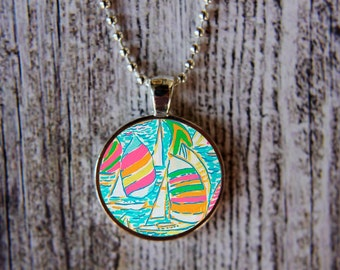 Lilly Pulitzer Inspired Necklace, Lilly Pulitzer Inspired Jewelry, Sailboat Necklace, Gotta Regatta Necklace, Preppy Necklace