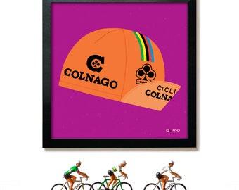 Bike Art, Cycling Print, Colnago Cycling Cap