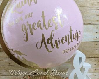 "Globe, Nursery, Guestbook Globe, Custom Painted Globe, World Globe, Wedding Guest Book, Wedding decor, Anniversary, 12"" metal stand,"