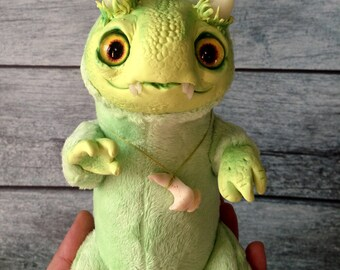 DRAGON TOY Forward Spring Dragon Ooak Fantasy Creature Doll Art Dragon Sculpture Ooak Doll Art Fantasy Sculpture Monster Toy Ooak