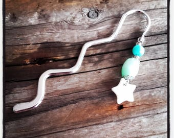 Silver charm bookmark green beads and Star