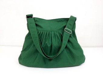 Cotton bag Canvas Bag Diaper bag Shoulder bag Hobo bag Tote bag Messenger bag Purse Pleated bag  Green Forest  Lily2