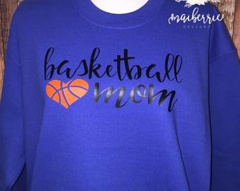 Basketball mom sweatshirt, custom mom shirt, mom apparel, sports apparel, customized shirts, mom shirts, sports mom