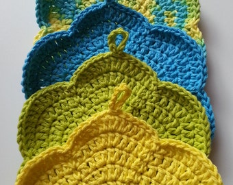 Dish Cloths, Green Dish Cloth, Blue Dish Cloth, Yellow Dish Cloth, Kitchen Set, Crochet Kitchen Dish Cloth Set, Handmade Dish Cloths
