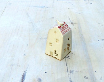 Tiny ceramic house with bird/white and pink house/home decor