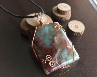 Aquaprase Necklace, Aquaprase and Herkimer Diamond Necklace, Aquaprase Jewelry