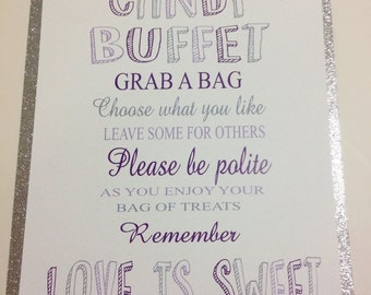 Love Is Sweet Candy Buffet Sign, Wedding Candy Sign, Candy Bar