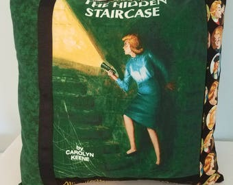Nancy Drew pillow cover, The Hidden Staircase, Nancy Drew books, decorative pillow, throw pillow, gift pillow, gifts for her, vintage books