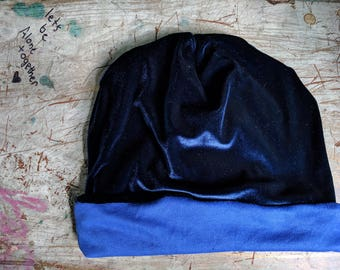 Velvet Slouchy Hat Upcycled Hat Beanie Baggy Hat Slouch Beanie Hipster Beanie Oversized Beanie Slouchy Beanie Boho Beanie Knit Slouchy Ha
