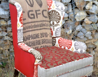"""Wingback Accent Chair Vintage Upcycled Upholstered with Burlap Coffee Sack - """"The Red One"""""""