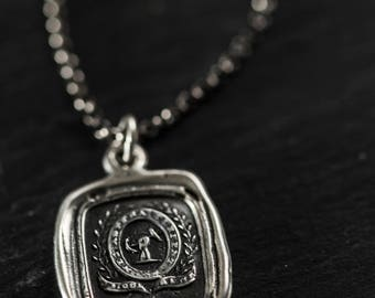 Courage and Challenge necklace wax seal jewelry - with two Latin mottos 400