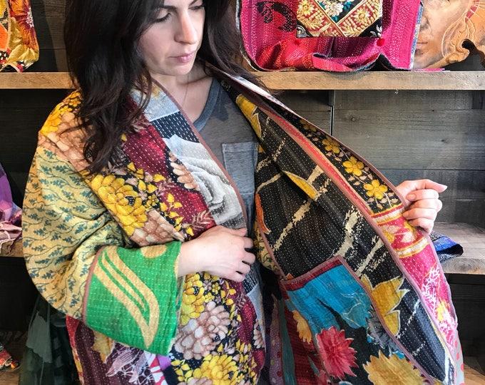 Plus size reversible cotton kantha kimono/jacket