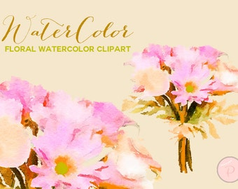 Watercolor flower bouquet Cliparts, Floral Clipart, Pink, pink floral Cliparts, Instant Download, WCA3