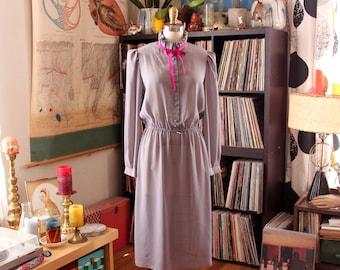 sheer gray pinstripe dress . vintage secretary dress with ruffled collar, elastic waist