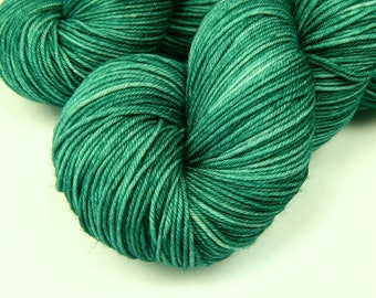 Hand Dyed Yarn, Sock Weight 4 Ply Superwash Merino Wool Yarn - Bluegrass - Indie Dyed Fingering Knitting Yarn, Sock Yarn, Teal Green Tonal