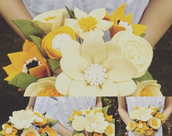 Felt Faux Flower Alternative wedding Bouquet Summer Yellow Boho Vibe Artificial Flower Arrangement