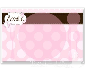 Kids PLACEMAT Sweet Lamb Children's Personalized Wipe-able Place Mat Learn to Set the Table Laminated PLM022