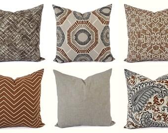 Decorative Pillow Cover - Caramel Tan Pillow - Chevron Pillow - Solid Pillow Cover - Accent Pillow Cover - Brown Pillow - Tan Grey Pillow
