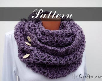 Crochet pattern Crochet infinity scarf Winter scarf Women's scarf DIY Long scarf Circle scarf Crocheted scarf pattern Button scarf Cowl