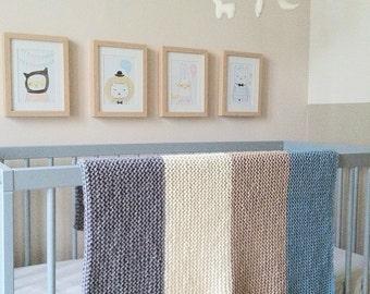 ADELE - Couverture bébé 100% laine française (lavable en machine) - 10 coloris disponibles