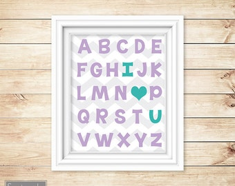 I Love Heart You Alphabet Teal Purple Learning Tool Wall Art Nursery Girls bedroom Decor ABC's Printable 11x14 Digital JPG Instant Download