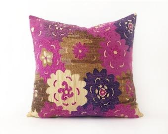 Cotton Suzani Embroidered Pillow Bead Decorative Cover Cushion Pillow Cover Throw Pillow Cotton Pillow Accent Sofa Pillows 18'' x 18''