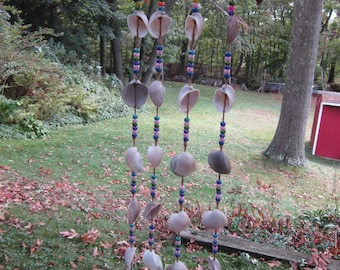 """SeaShell Wind Chimes  Natural ark shells with   colorful beads  35"""" long 8 1/2"""" wide"""