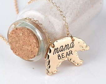 Silver or Gold mama BEAR Pendant/Necklace - Mother Gift - MAMA