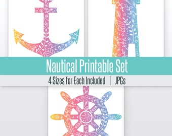 Anchor, Ship Wheel, Lighthouse Nautical Art Set | 4 Sizes | Printable |   Nautical Decor, Nautical Nursery, Wall Decor
