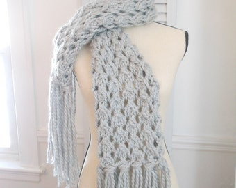 Gray wool fringe scarf