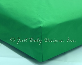 Fitted Crib Sheet - Kelly Green Solid Cotton