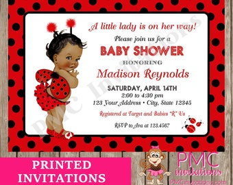 Custom Printed Shabby Chic   Antique   Vintage   African American Ladybug  Baby Shower Invitations